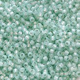 Toho Round Seed Beads #2118 11/0 silver-lined milky lt peridot TR-11-2118